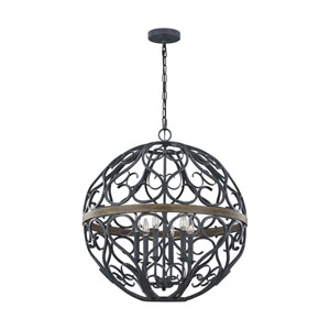 Avila Weathered Zinc and Oak Six-Light Chandelier