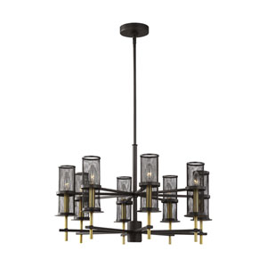 Palmyra Oiled Rubbed Bronze and Burnished Brass Eight-Light Chandelier