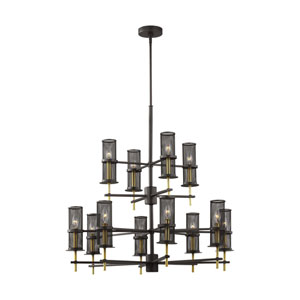Palmyra Oiled Rubbed Bronze and Burnished Brass 12-Light Chandelier