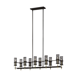 Palmyra Oiled Rubbed Bronze and Burnished Brass 10-Light Chandelier