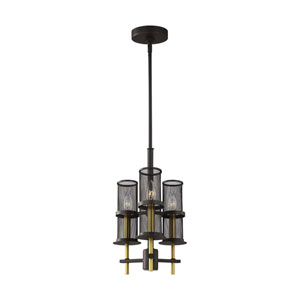 Palmyra Oiled Rubbed Bronze and Burnished Brass Three-Light Chandelier