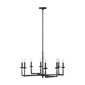 Ansley Aged Iron Eight-Light 32-Inch Chandelier