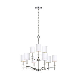 Hewitt Polished Nickel Nine-Light Chandelier