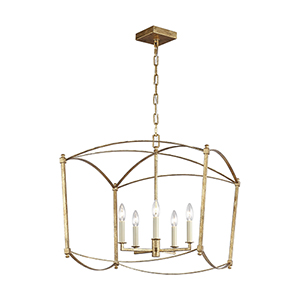 Thayer Antique Gold Five-Light 23-Inch Chandelier
