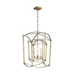Thayer Antique Gold Three-Light Chandelier