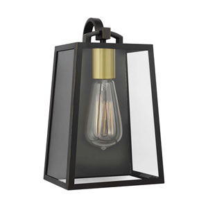 Lindbergh 11-Inch Antique Bronze and Painted Burnished Brass One-Light Outdoor Wall Lantern