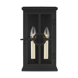 Belleville Textured Black Two-Light Outdoor Wall Lantern