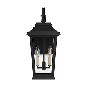 Warren Textured Black Two-Light Outdoor Wall Lantern