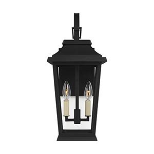 Warren Textured Black Two-Light Outdoor Wall Lantern