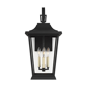 Warren Textured Black Three-Light Outdoor Wall Lantern