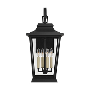 Warren Textured Black Four-Light 12-Inch Outdoor Wall Lantern