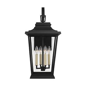 Warren Textured Black Four-Light 12-Inch Outdoor Wall Lantern