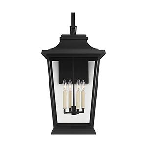 Warren Textured Black Four-Light 16-Inch Outdoor Wall Lantern
