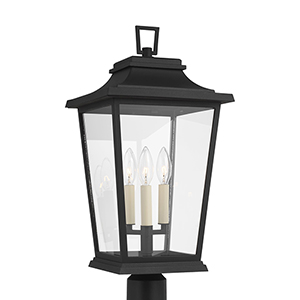 Warren Textured Black Three-Light Outdoor Post Lantern