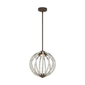Orren Driftwood Grey and Weathered Iron 14-Inch LED Globe Pendant