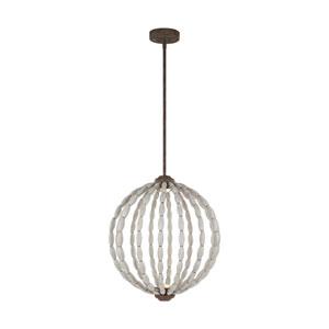 Orren Driftwood Grey and Weathered Iron 20-Inch LED Globe Pendant