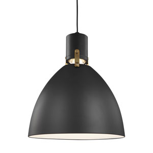 Brynne Matte Black 14-Inch LED Dome Pendant