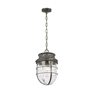 Parson Distressed Silver Leaf One-Light Pendant