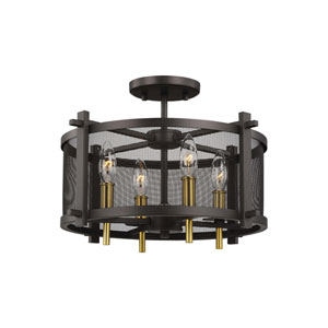 Palmyra Oiled Rubbed Bronze and Burnished Brass Four-Light Semi-Flush Mount