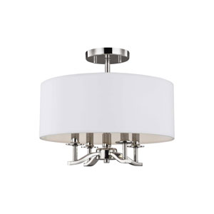 Hewitt Polished Nickel Four-Light Semi-Flush Mount