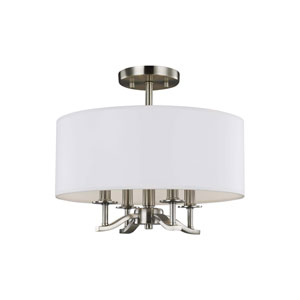 Hewitt Satin Nickel Four-Light Semi-Flush Mount