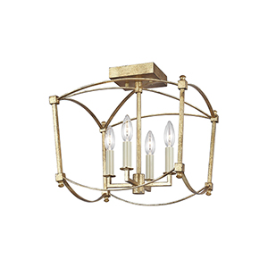 Thayer Antique Gold Four-Light Semi Flush Mount