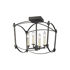 Thayer Smith Steel Four-Light Semi Flush Mount