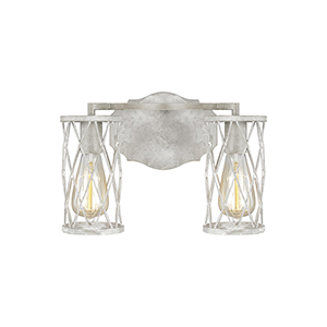 Cosette Distressed White Wood Two-Light Bath Vanity
