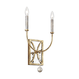 Marielle Antique Gold Two-Light Wall Sconce