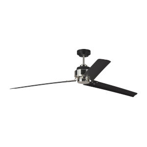Arcade Midnight Black Polished Nickel 68-Inch Ceiling Fan