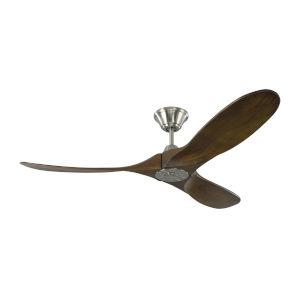 Maverick II Brushed Steel 52-Inch Energy Star DC Motor Ceiling Fan with Dark Walnut Blades