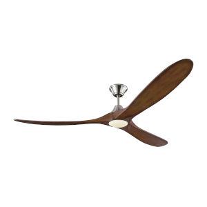 Maverick Brushed Steel Koa 70-Inch LED Ceiling Fan