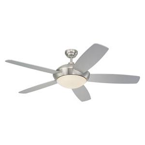 Sleek Brushed Steel 52-Inch Two-Light Ceiling Fan