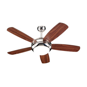 Discus Polished Nickel 44-Inch Ceiling Fan with American Walnut Blades