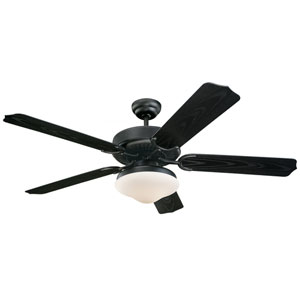 Weatherford Deluxe Matte Black 52-Inch Outdoor Ceiling Fan with Light Kit