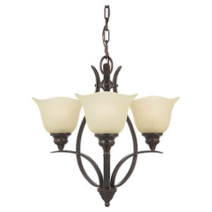 Morningside Grecian Bronze Three-Light Mini Chandelier