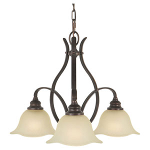 Morningside Grecian Bronze Three-Light Chandelier