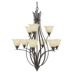 Morningside Grecian Bronze Nine-Light Multi-Tier Chandelier