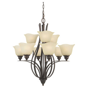 Morningside Grecian Bronze Nine-Light Multi-Tier Chandelier