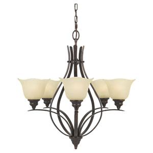 Morningside Grecian Bronze Five-Light Chandelier