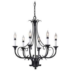 Peyton Black Six-Light Single Tier Chandelier