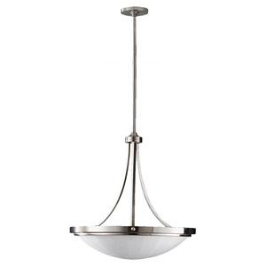 Perry Brushed Steel Three-Light Uplight Chandelier
