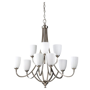 Perry Brushed Steel Nine-Light Multi-Tier Chandelier