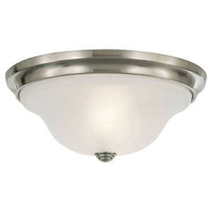 Vista Brushed Steel Two-Light Indoor Flush Mount Fixture