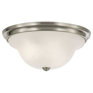 Vista Brushed Steel Three-Light Indoor Flush Mount Fixture