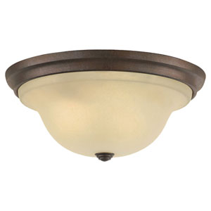Vista Corinthian Bronze Three-Light Indoor Flush Mount Fixture