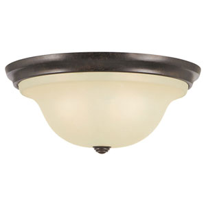 Morningside Grecian Bronze Three-Light Indoor Flush Mount Fixture