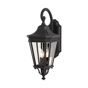 Cotswold Lane Black Outdoor Three-Light Wall Lantern - Width 9.5 Inches