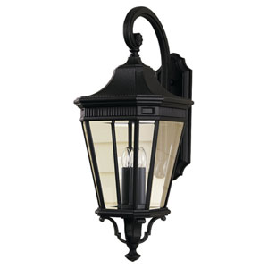 Cotswold Lane Black Outdoor Three-Light Wall Lantern Light
