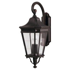 Cotswold Lane Grecian Bronze Outdoor Three-Light Wall Lantern Light